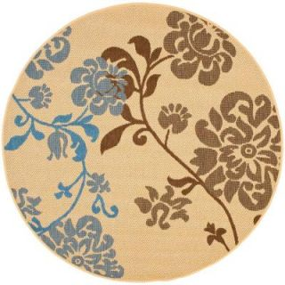 Safavieh Courtyard Natural Brown/Blue 5 ft. 3 in. x 5 ft. 3 in. Round Area Rug CY4027B 5R