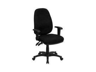 Flash Furniture High Back Black Fabric Ergonomic Computer Chair with Height Adjustable Arms [BT 661 BK GG]