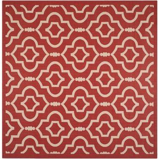 Safavieh Indoor/ Outdoor Courtyard Red/ Bone Geometric pattern Rug (7