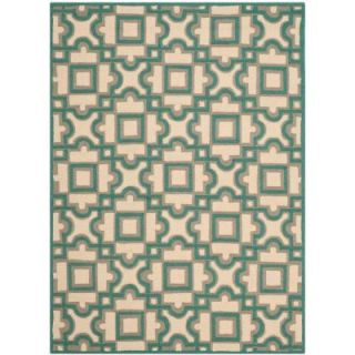 Safavieh Four Seasons Ivory/Aqua 4 ft. x 6 ft. Indoor/Outdoor Area Rug FRS398B 4