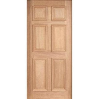 Main Door 36 in. x 80 in. Solid Mahogany Type Unfinished 6 Panel Front Door Slab SH 600 UNF