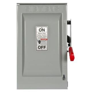 Siemens Heavy Duty 60 Amp 600 Volt 3 Pole Outdoor Fusible Safety Switch HF362R