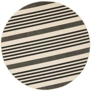 Safavieh Indoor/ Outdoor Courtyard Black/ Bone Rug (53 Round