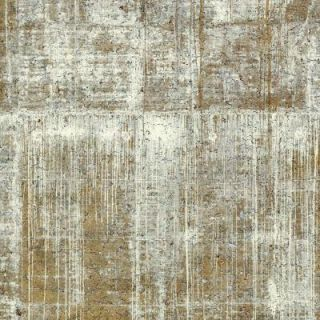 The Wallpaper Company 72 sq. ft. Light Green Gold Concrete Cork Wallpaper WC1287510