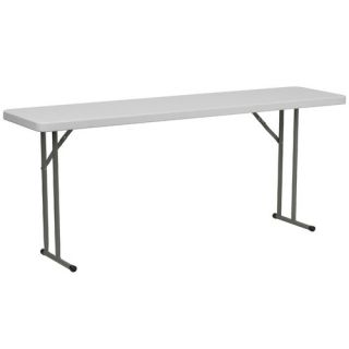 18 W Blow Molded Plastic Folding Table in Granite White