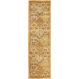 Safavieh Antiquity Light Blue/Gold 2 ft. 3 in. x 8 ft. Runner AT613A 28