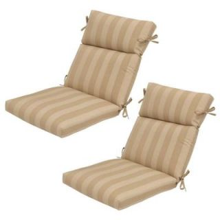 Hampton Bay Roux Stripe High Back Outdoor Chair Cushion (2 Pack) DISCONTINUED 7718 02001600