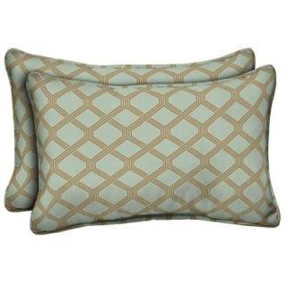 Hampton Bay Bayou Lattice Outdoor Lumbar Pillow (2 Pack) AD13121B 9D2