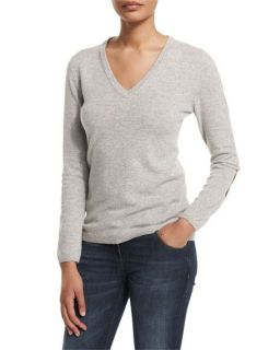 Brunello Cucinelli Crewneck Knit Sweater, Gray