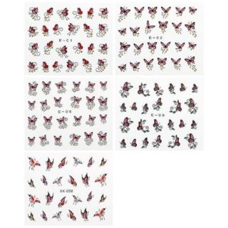 BMC Red Pink Purple Colored Glitter Butterfly Nail Art Stickers   5 Sheet Set