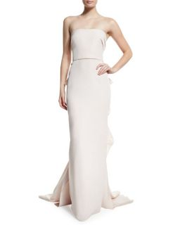 Marchesa Strapless Column Gown W/Ruffled Back, Blush