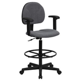 Gray Fabric Ergonomic Drafting Chair with Height Adjustable Arms