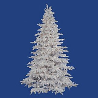 Vickerman Flocked White Spruce 9 Artificial Christmas Tree with Clear Lights