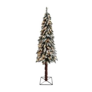 6' Pre Lit Flocked Alpine Artificial Christmas Tree   Clear Lights