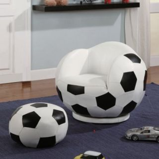 Coaster Kids Soccer Ball Chair and Ottoman