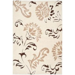 Safavieh Florida Shag Cream/Dark Brown 8 ft. x 10 ft. Area Rug SG463 1128 8
