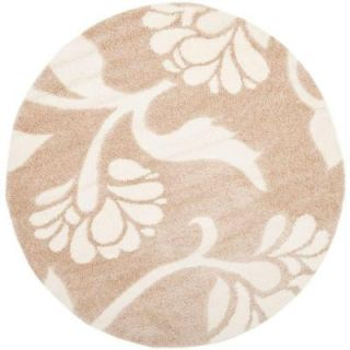 Safavieh Florida Shag Beige/Cream 6 ft. 7 in. x 6 ft. 7 in. Round Area Rug SG459 1311 7R