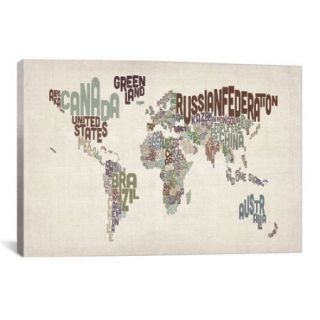 iCanvas Michael Tompsett 'Typographic World Map VI' Textual Art on Canvas