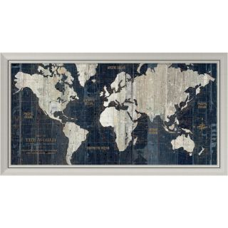 Wild Apple Portfolio Old World Map Blue Framed Art Print 43 x 23