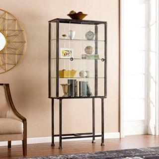 Southern Enterprises Hailey Metal/Glass Sliding Door Display Cabinet, Distressed Black