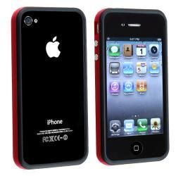 Red TPU Rubber Skin Bumper Case/ Aluminum Buttons for Apple iPhone 4