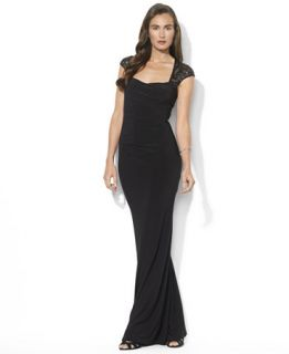 Lauren Ralph Lauren Cap Sleeve Sequin Gown   Dresses   Women