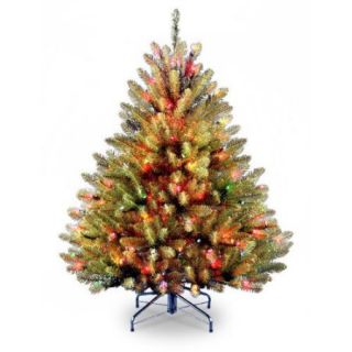 National Tree Co. Dunhill Fir 4.5' Green Artificial Christmas Tree with Multi Colored Lights with Stand