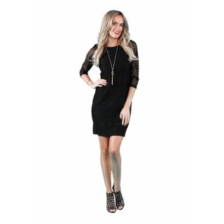 24/7 Comfort Apparel Womens Black Lace Dress   18426827