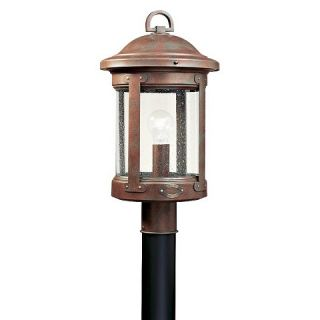 Sea Gull 1 Light Outdoor Post Lantern   Weathered Copper