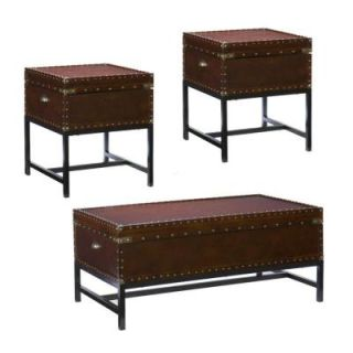 Southern Enterprises Kathryn Trunk Coffee Table Collection in Espresso (Set of 3) HD400211