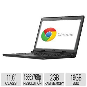 Dell 11.6 3120 Chromebook   Intel Celeron N2840 Processor, 2GB RAM Memory, 2.16GHz Dual Core, 16GB SSD Storage, Integrated Webcam, Intel Burst Technology, Intel HD Graphics   3VK89
