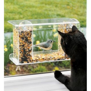 Plow & Hearth Window Mount See Through Clear Plastic Bird Feeder