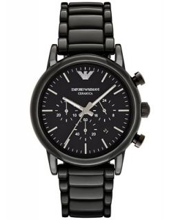 Emporio Armani Mens Chronograph Luigi Black Ceramic Bracelet Watch