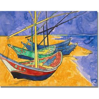 "Trademark Fine Art ""Fishing Boats on the Beach"" Canvas Art by Vincent van Gogh"