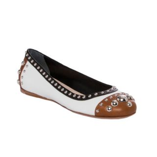 Prada Womens Tri color Studded Leather Flats   Shopping