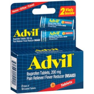 Advil Ibuprofen Pain Reliever/Fever Reducer Coated Tablets, 200mg, 10 count, (Pack of 2)