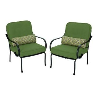 Hampton Bay Fall River Patio Lounge Chair with Moss Cushion (2 Pack) DY11034 L 2