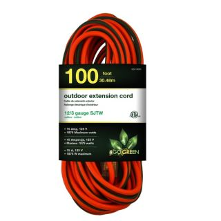 GoGreen Power 12/3 100 foot SJTW Outdoor Heavy Duty Extension Cord