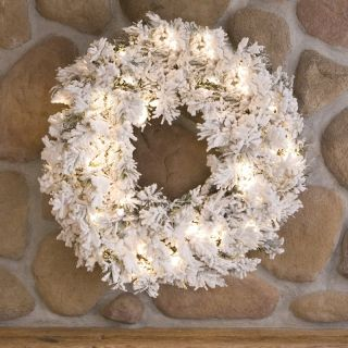 30 in. Flocked Alaskan Pine Pre lit Christmas Wreath   Christmas