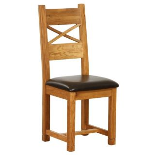 Vancouver Cross Back Dining Chair with Dark Brown Leather Seat (Set of