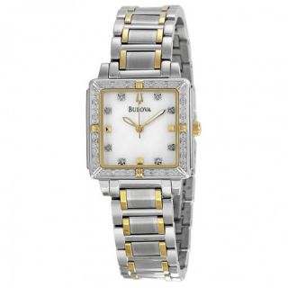 Bulova Ladies Marine Star Square Mother Of Pearl Dial Watch Item No