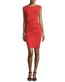 Nicole Miller Tidal Pleated Detail Dress, Red