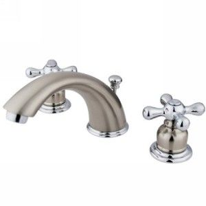 Kingston Brass KB977X Victorian Satin Nickel/Polished Chrome  Two Handle Widespread Bathroom Faucets