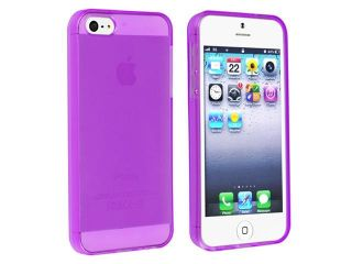 Insten Clear Purple TPU Rubber Skin Case Cover + Privacy Screen Cover Compatible with Apple iPhone 5