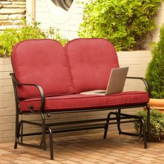 Hampton Bay Fall River Patio Double Glider with Chili Cushion DY11034 G R