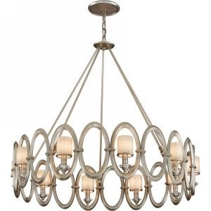 Corbett Lighting COR 134 410 Embrace Satin Silver Leaf  Pendants Lighting
