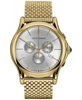 Emporio Armani Mens Swiss Chronograph Classic Gold Tone Stainless