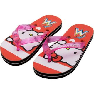 Miami Marlins Youth Girls Hello Kitty Logo Stripe Flip Flops   Orange