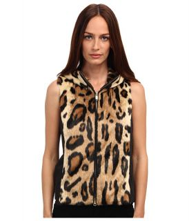 Armani Jeans Leopard Print Faux Fur and Nylon Vest