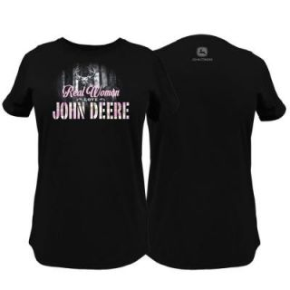 John Deere Ladies Large Real Women Love T Shirt in Black 23005298BK05